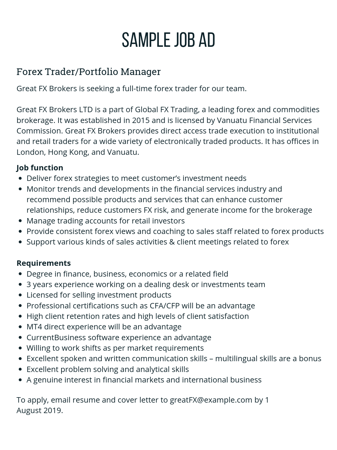 Doc Descargar CurrentDesk Forex Job Ad Templates | CurrentDesk