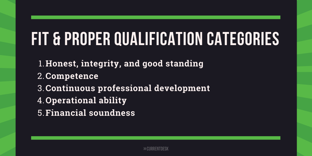 Fit and proper qualifications for FSP