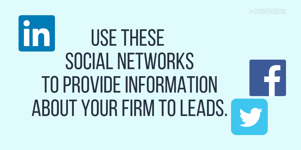 Use social networks to provide info to leads
